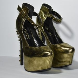 Metallic Gold Platform Pumps